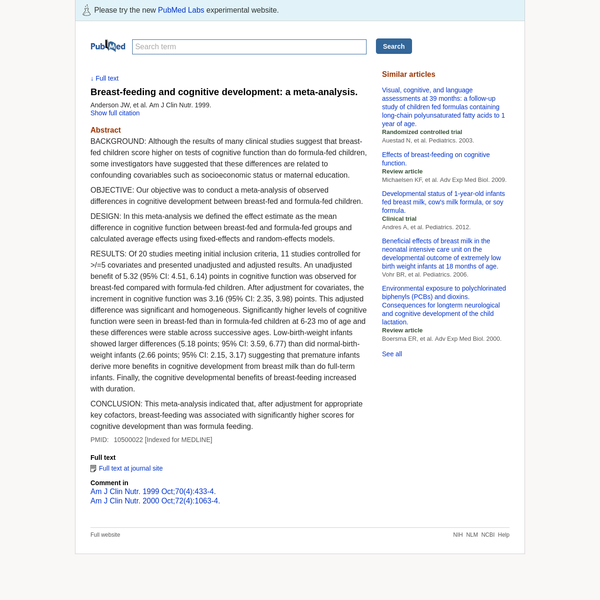Breast-feeding and cognitive development: a meta-analysis. - PubMed - NCBI
