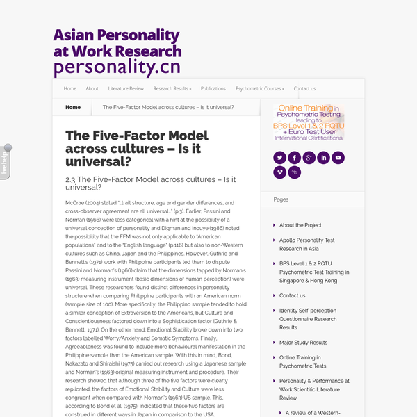 """McCrae (2004) stated """"...trait structure, age and gender differences, and cross-observer agreement are all universal..."""" (p.3). Earlier, Passini and Norman (1966) were less categorical with a hint at the possibility of a universal conception of personality and Digman and Inouye (1986) noted the possibility that the FFM was not only applicable to """"American populations"""" and to the """"English language"""" (p.116) but also to non-Western cultures such as China, Japan and the Philippines."""