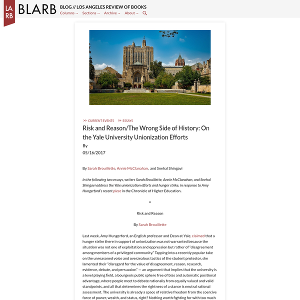 On the Yale University Unionization Efforts - BLARB