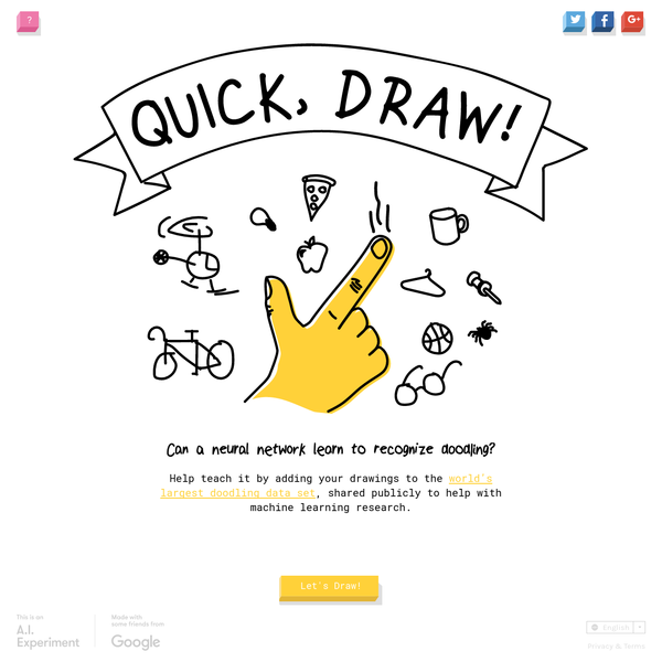 Can a neural network learn to recognize doodles? See how well it does with your drawings and help teach it, just by playing.