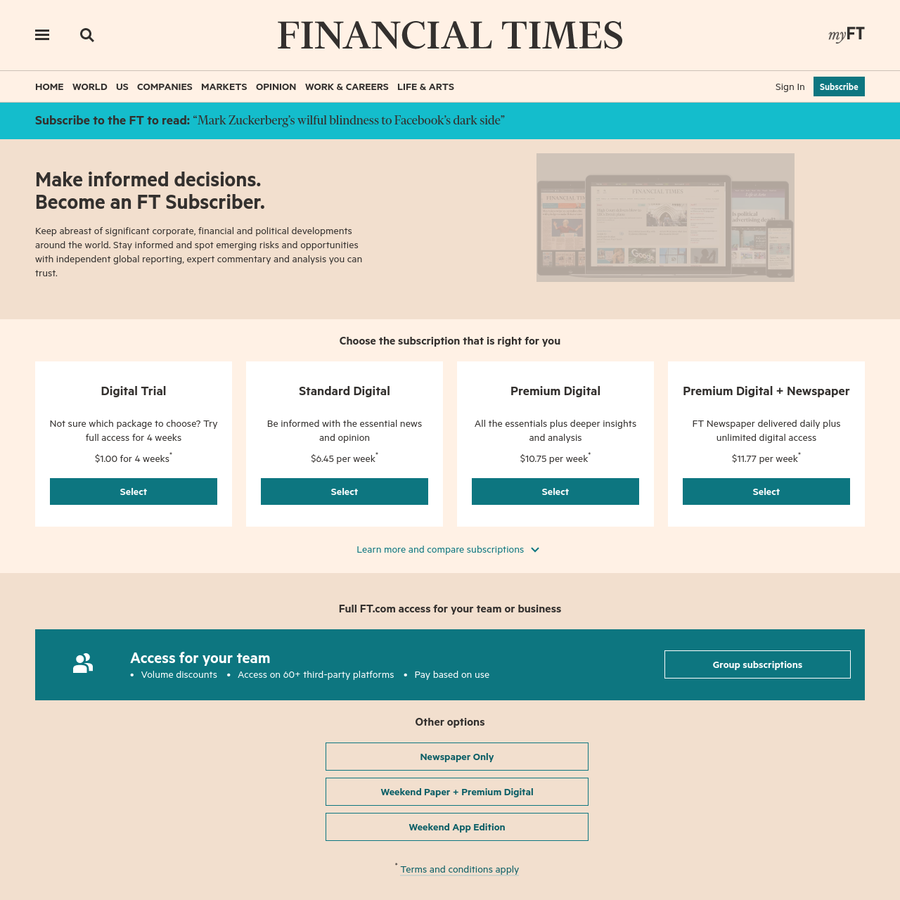 Keep abreast of significant corporate, financial and political developments around the world. Stay informed and spot emerging risks and opportunities with independent global reporting, expert commentary and analysis you can trust.