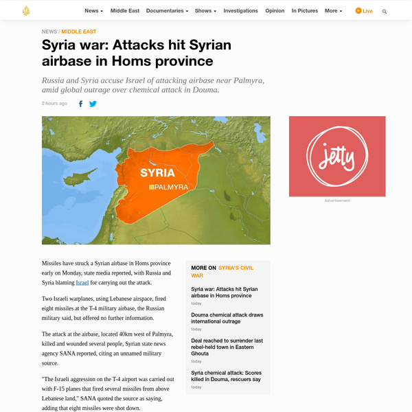 Syria war: Strikes hit Syrian airbase in Homs province