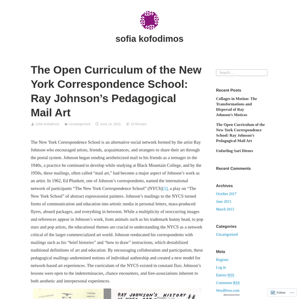 The Open Curriculum of the New York Correspondence School: Ray Johnson's Pedagogical Mail Art
