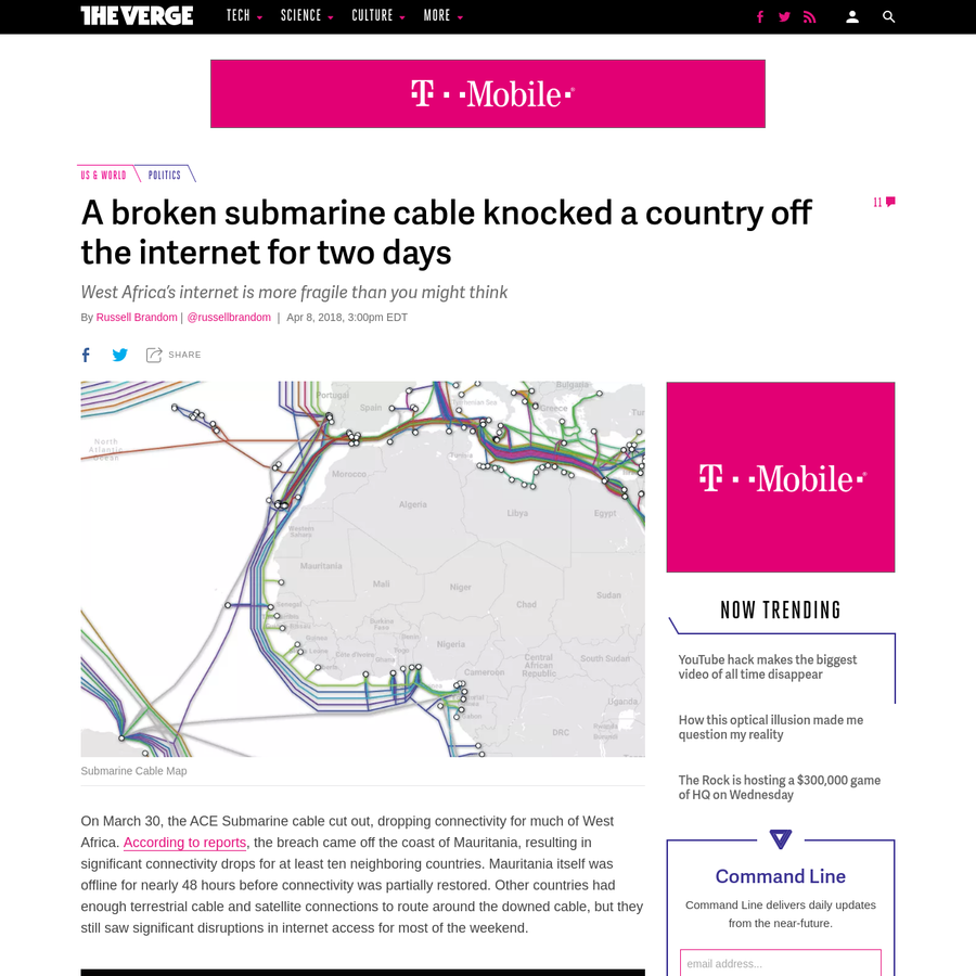On March 30, the ACE Submarine cable cut out, dropping connectivity for much of West Africa. According to reports, the breach came off the coast of Mauritania, resulting in significant connectivity drops for at least ten neighboring countries. Mauritania itself was offline for nearly 48 hours before connectivity was partially restored.