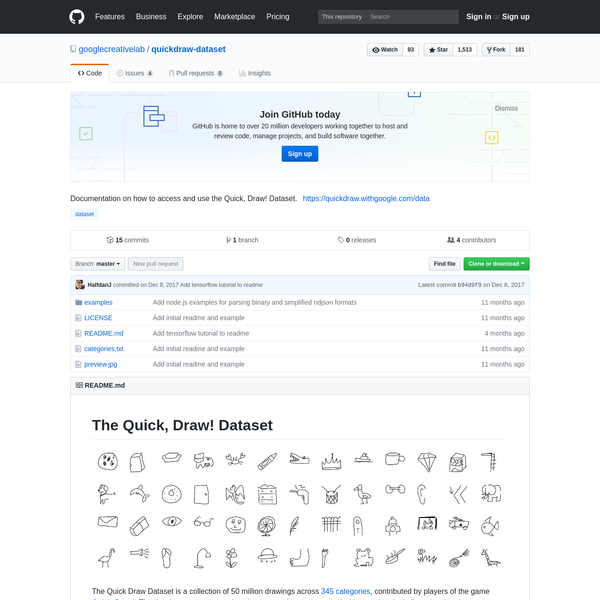quickdraw-dataset - Documentation on how to access and use the Quick, Draw! Dataset.
