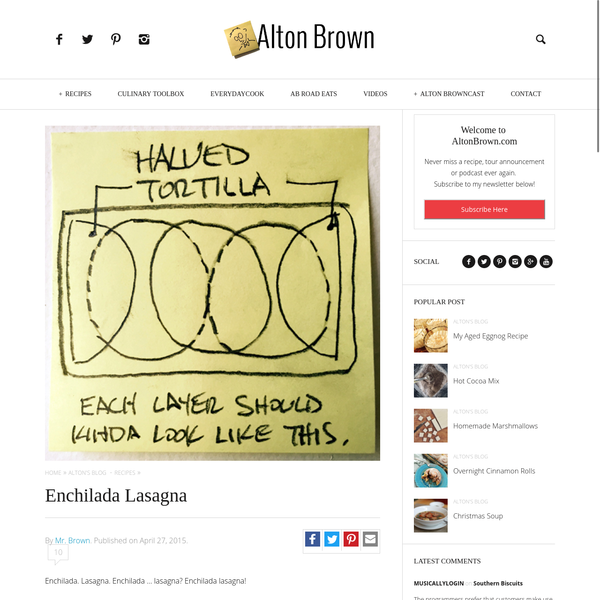 Alton Brown's Enchilada Lasagna Recipe