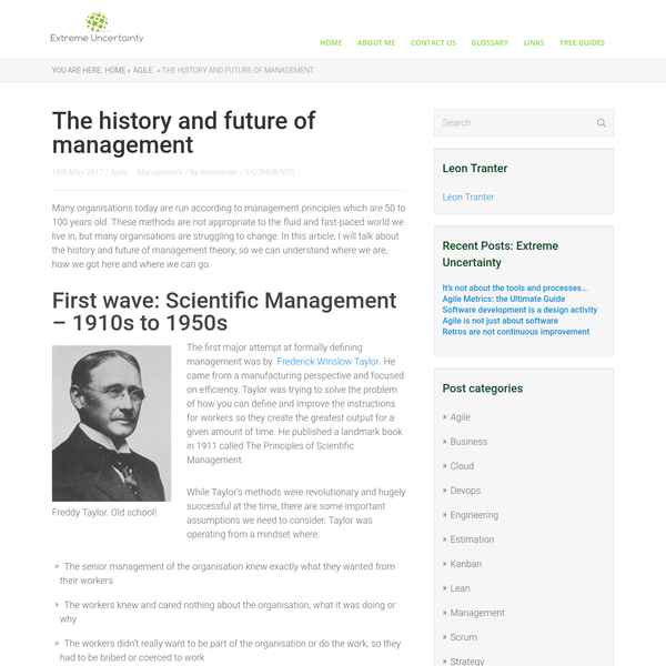 The history and future of management - Extreme Uncertainty