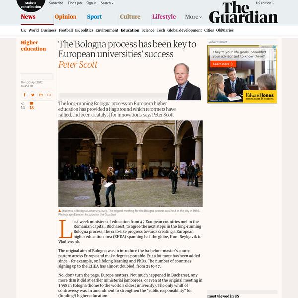 The Bologna process has been key to European universities' success