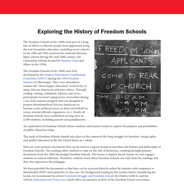 Exploring the History of Freedom Schools