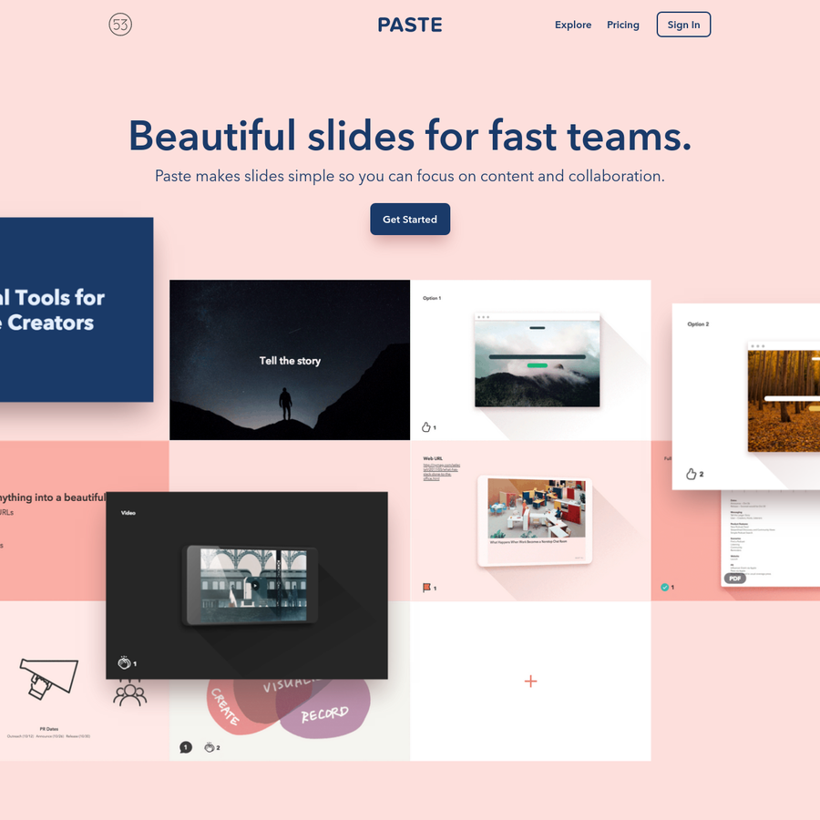 Fast, collaborative presentations for creative teams. Share your work in realtime and collaborate with reactions, comments, and Slack integration. Embed files, links, and docs for strategy decks, design handoffs, brainstorms, research gathering. Integrates with Giphy, Figma, Dropbox, Google Docs, and more.