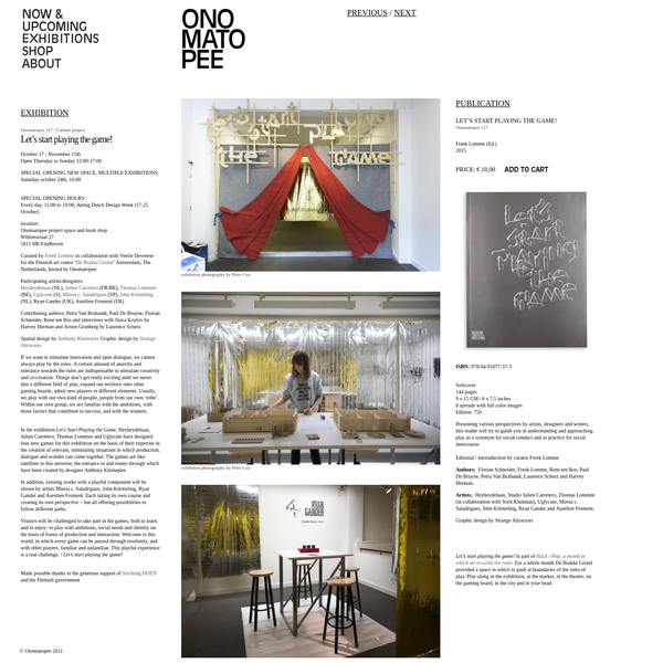 Curated by Freek Lomme in collaboration with Veerle Devreese for the Flemish art centre ' De Brakke Grond ' Amsterdam, The Netherlands, hosted by Onomatopee.