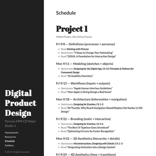 Schedule · Digital Product Design