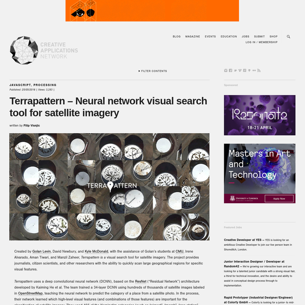 Terrapattern - Neural network visual search tool for satellite imagery