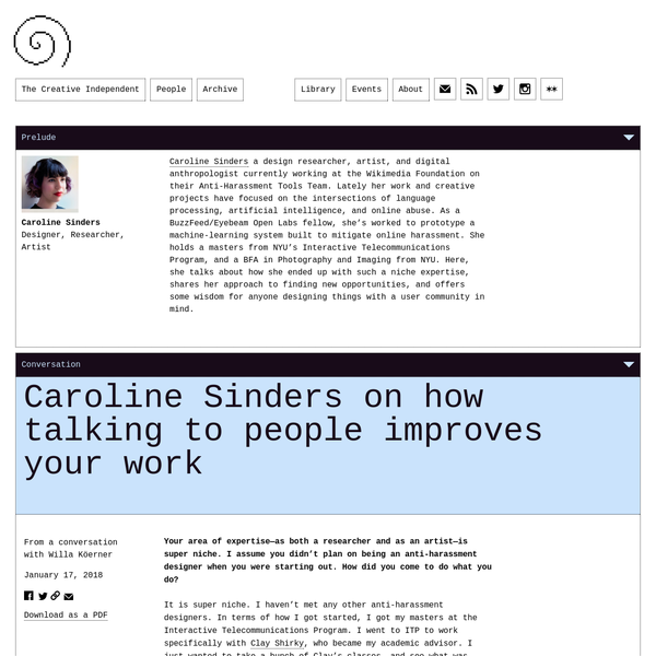 Caroline Sinders on how talking to people improves your work