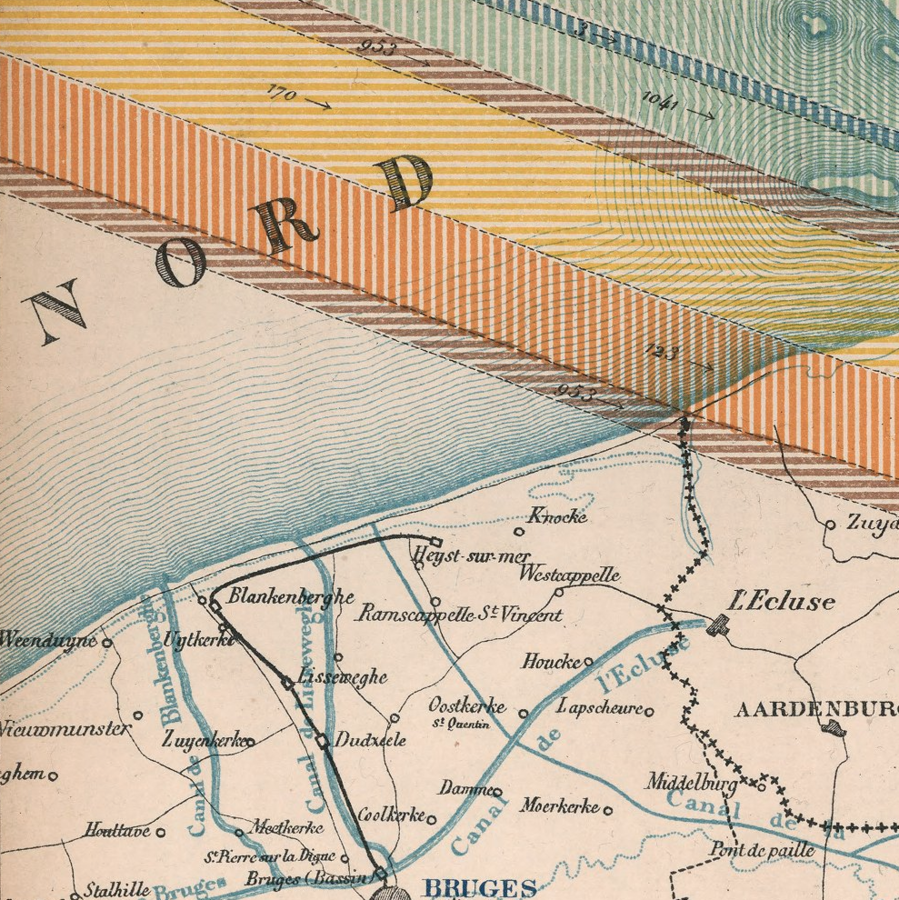 >Color map of Belgium 73x87, dissected into 24 sections of 18x14, backed with linen. Showing production, circulation, consumption of minerals and the production of metals in Belgium during 1878. Includes color coded signs showing production, consumption and transportation of minerals, and Table of mines, minerals, factories and production of iron, zinc, lead, copper or pyrite minerals in 1878. Map showing cities, villages, roads, railroads, rivers, canals, etc. Includes legend and text. This flow diagram was likely influenced by the work of Charles Joseph Minard.  [Dave Rumsey Map Collection](https://www.davidrumsey.com/luna/servlet/detail/RUMSEY~8~1~303650~90074096:Carte-de-la-production,-de-la-circu)