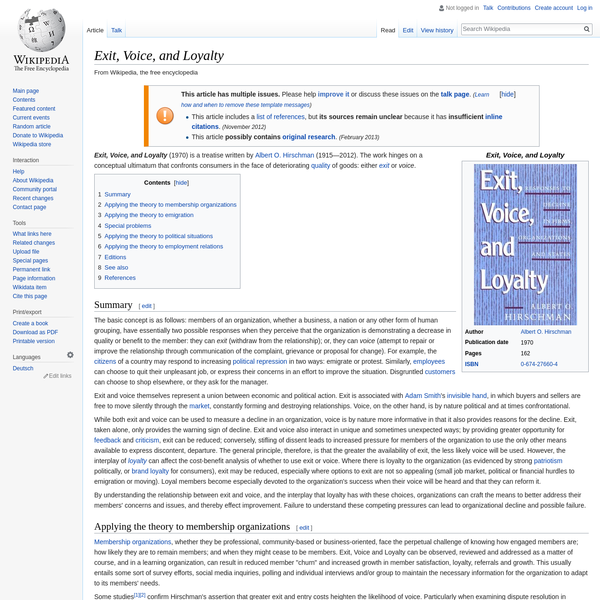 Exit, Voice, and Loyalty - Wikipedia