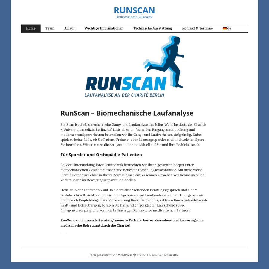 RunScan ist die biomechanische Gang- und Laufanalyse des Julius Wolff Instituts der Charité - Universitätsmedizin Berlin. Auf Basis einer umfassenden Eingangsuntersuchung und moderner Analyseverfahren beurteilen wir Ihr Gang- und Laufverhalten tiefgründig. Dabei spielt es keine Rolle, ob Sie Patient, Freizeit- oder Leistungssportler sind und welchen Sport Sie betreiben.