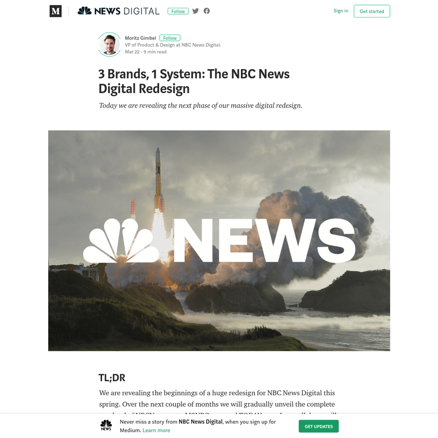 About a year ago we started a journey to redesign and re-platform every pixel at NBC News Digital-completely overhauling our websites, mobile and OTT apps for NBCNews, TODAY and MSNBC. Today we are releasing a major chunk of that work, introducing the new NBCNews.com homepage.
