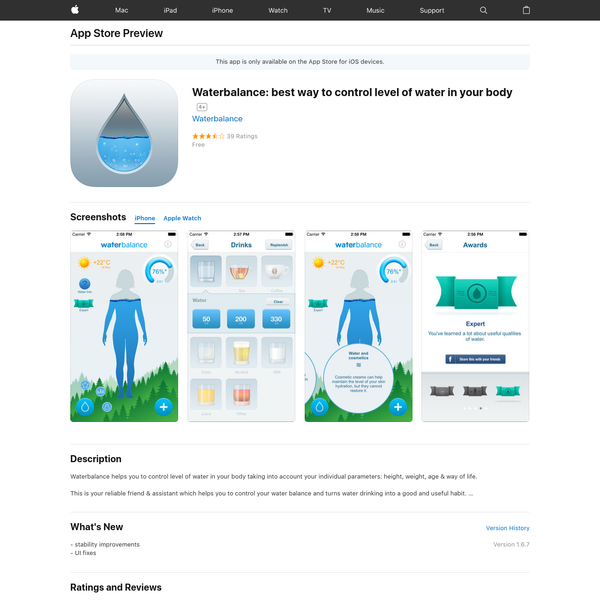 Waterbalance: best way to control level of water in your body on the App Store