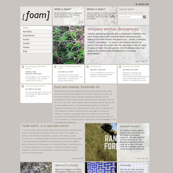 Founded in 2000 in Brussels, FoAM is a cultural laboratory re-imagining possible futures, in the interstices of art, science, nature and the everyday life.
