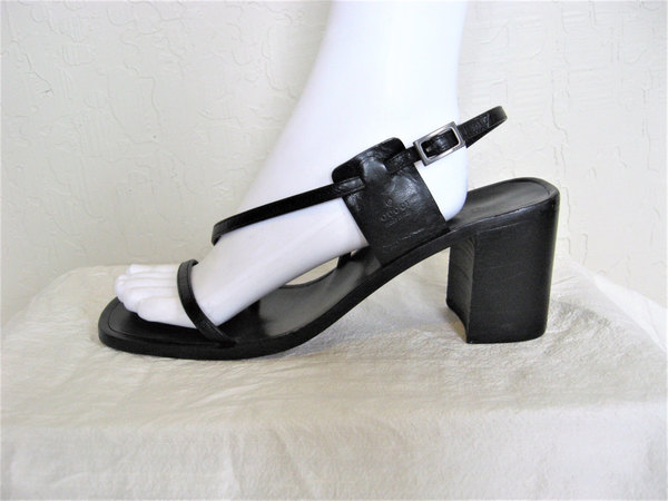 RESERVED for Sabrina Saint-Louis GUCCI Black Leather Strappy Sandals Heels / 90s minimalist authentic designer shoes ...