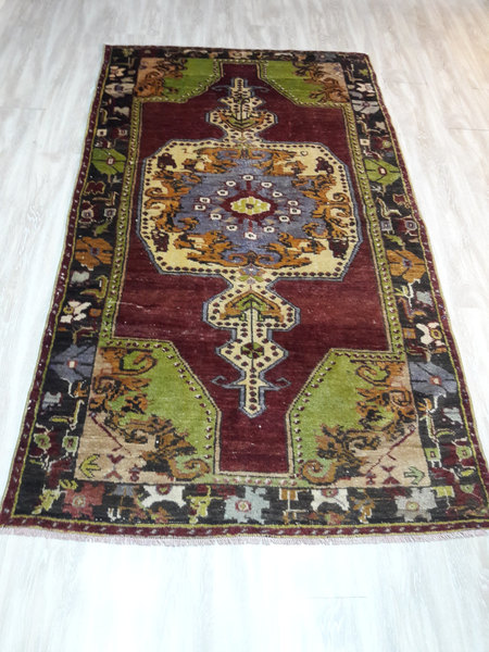 Green Turkish Vintage Rug, Anatolian Rug, Home Decor - $315.00 USD
