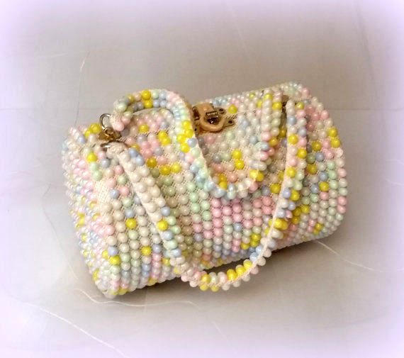 60s Pastel Bead Box Purse - Easter Handbag - Pink, White Green, Yellow & Blue Beads - Nice and Roomy - Top Handle - H...