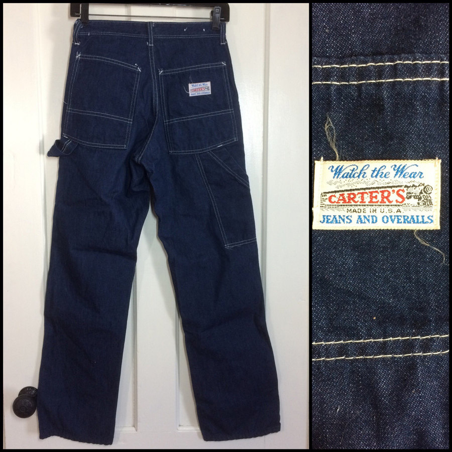 """Here's a pair of dark wash cotton denim painter pants from the 1970's. It's Union made in the USA and it has a brass YKK zipper. It's in excellent, barely used condition, no damage. Measures- 27"""" Waist 36"""" Hip 11.25"""" Rise 30"""" Inseam check our other pants https://www.etsy.com/shop/sidvintage?section_id=10578917 Vintage sizes are different than contemporary sizes, please measure before you buy."""