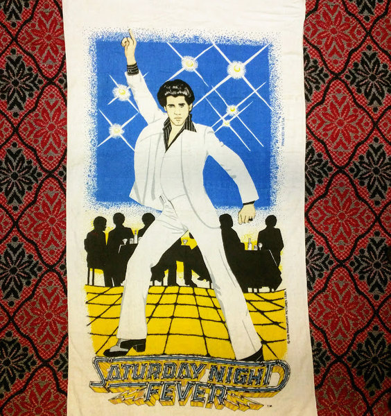 "Saturday Night Fever original towel 1978 vintage old stock unused tapestry hanging John Travolta disco pose movie memorabilia beach wall 30"" x 58"""