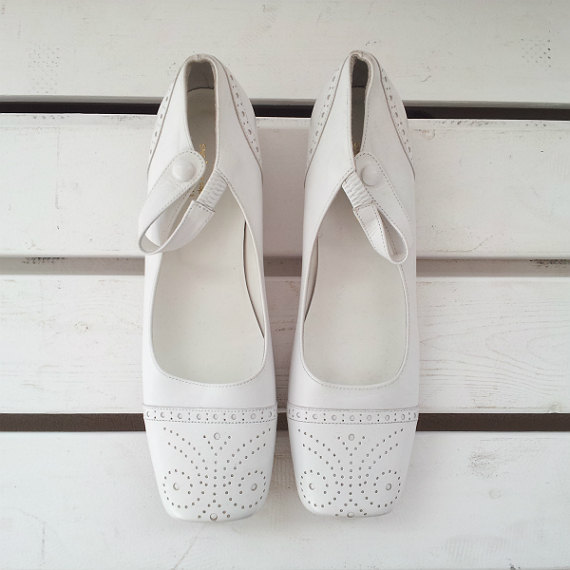 Comme Des Garcons White Oxford Flats 8 38.5 24 Vintage Square Toe Flat Heel Ankle Strap Mary Janes Japanese Mod Lolit...