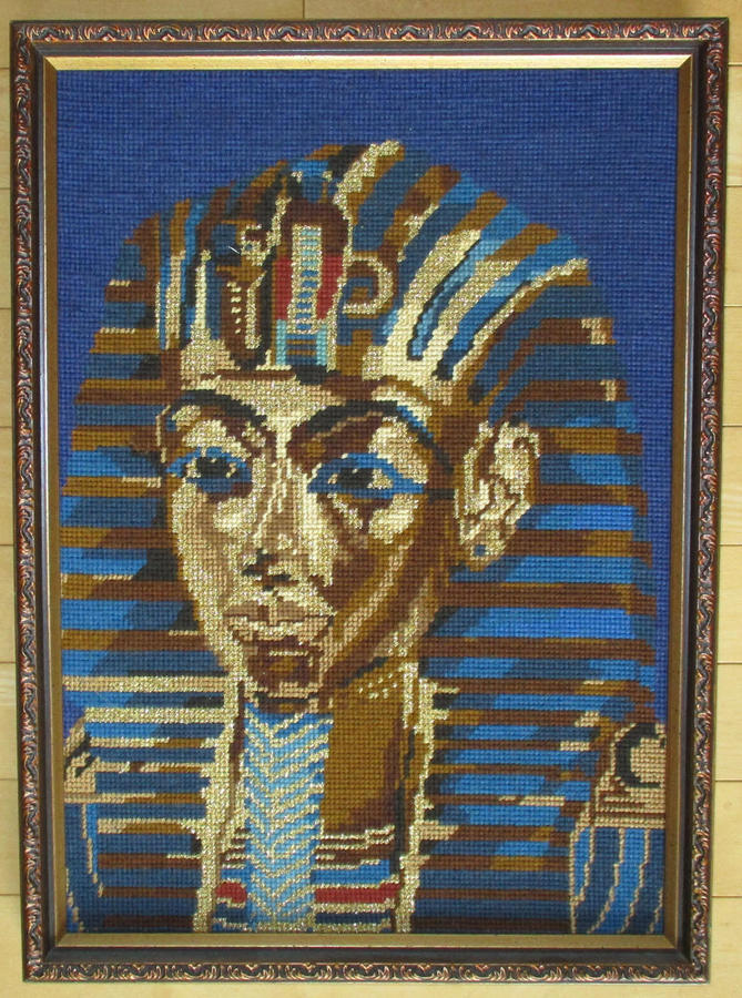 Vintage Egyptian Art - Pharoh King Tutankhamun Embroidery, Framed Tapestry Picture, Hollywood Regency, Wall Art, Bonu...