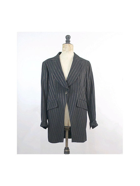 90s Lolita Lempicka Tuxedo Jacket metal thread - $62.00 USD