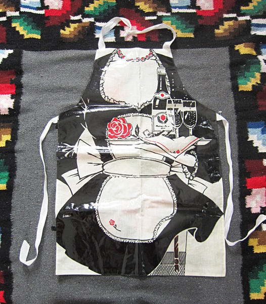 Vintage French Maid Apron / Black & White Printed Butler Graphic, PVC Cotton - $18.00 USD