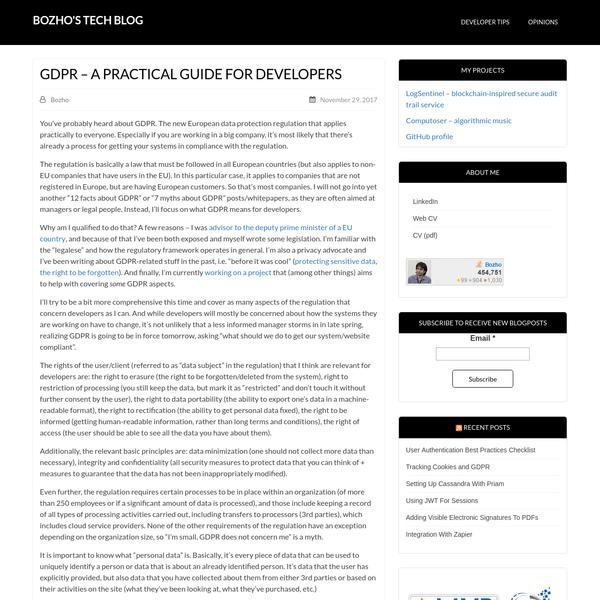 GDPR - A Practical Guide For Developers - Bozho's tech blog