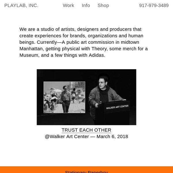 PLAYLAB, INC. is a creative studio with no particular focus, exploring things that interest us by initiating and working with others on ideas, products, exhibitions and more.