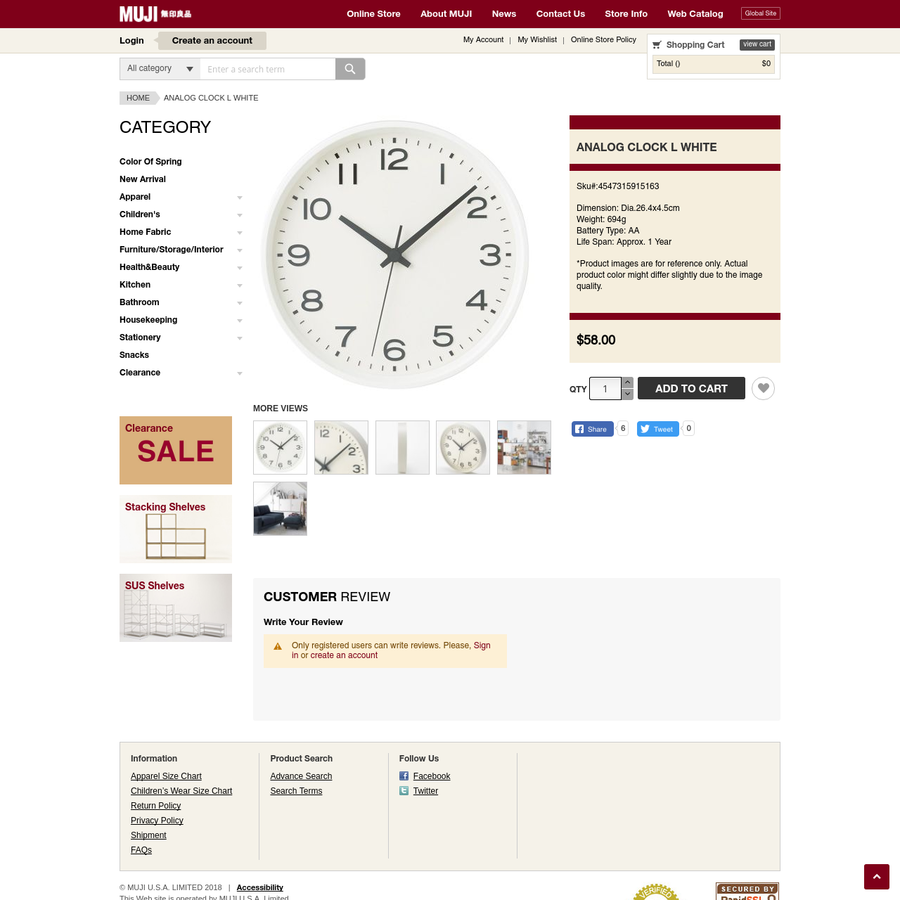 Analog Clock L White