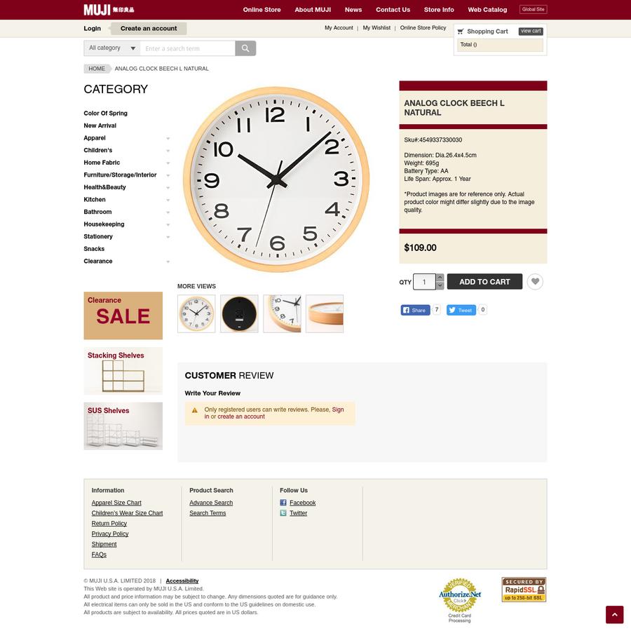 Analog Clock Beech L Natural