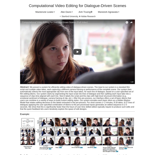 Computational Video Editing for Dialogue-Driven Scenes