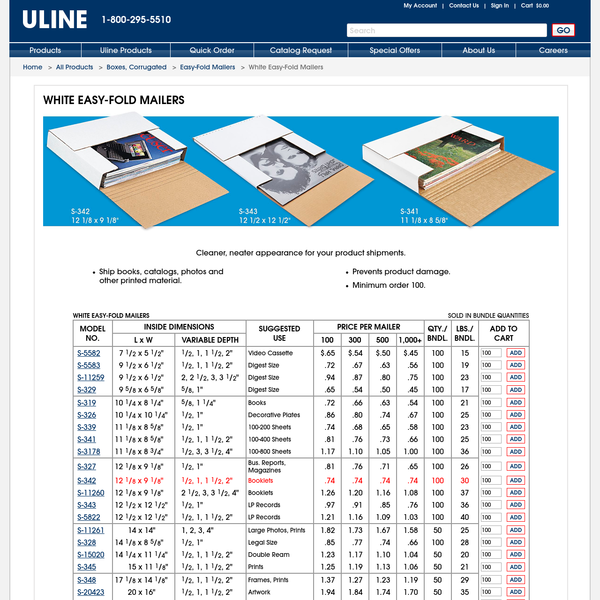 Uline stocks a huge selection of white easy-fold mailers. Order by 6 pm for same day shipping. 11 locations across USA, Canada and Mexico for fast delivery of white easy-fold mailers.