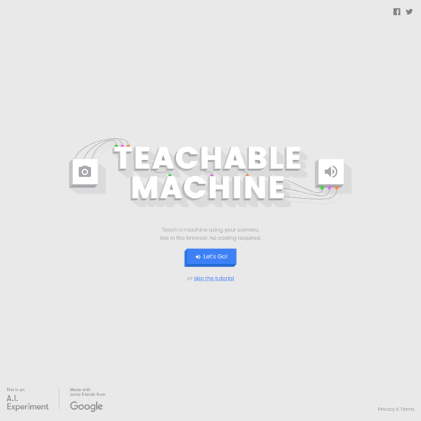 Teachable Machine: Explore machine learning, live in your browser.