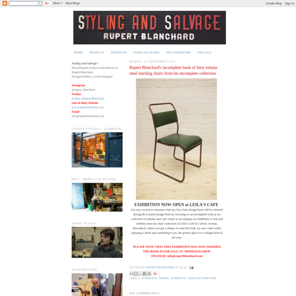 I'm very excited to announce that my first chair design book will be released during the London design festival, focusing on an incomplete look at my collection of tubular steel 'pel' chairs to accompany an exhibition of selected exhibits from my chair collection at Leila's Cafe in Calvert Avenue, Shoreditch, where you get a chance to read the book, try out a chair while enjoying a drink and something to eat, the perfect place for a design festival pit-stop.