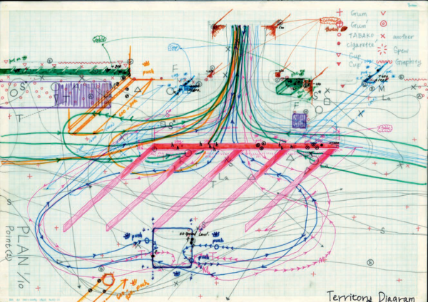 Ink, colored pen, on graph paper. 297×420 mm. 2014.  In the fourth drawing, we explore how the physical is compiled by both influential (active) and influenced (passive) components. Through our evidence-based research, we look at the ways physical combinations are interconnected to form architectural spaces. On the site, specifically, we find that the combination between the door of the workers' entrance for St. Pancras Station, the gutter, the window frame, the handrail, the sewer cover, the edge of the corner of the staff entrance, and the paving creates an interiority of urban space.