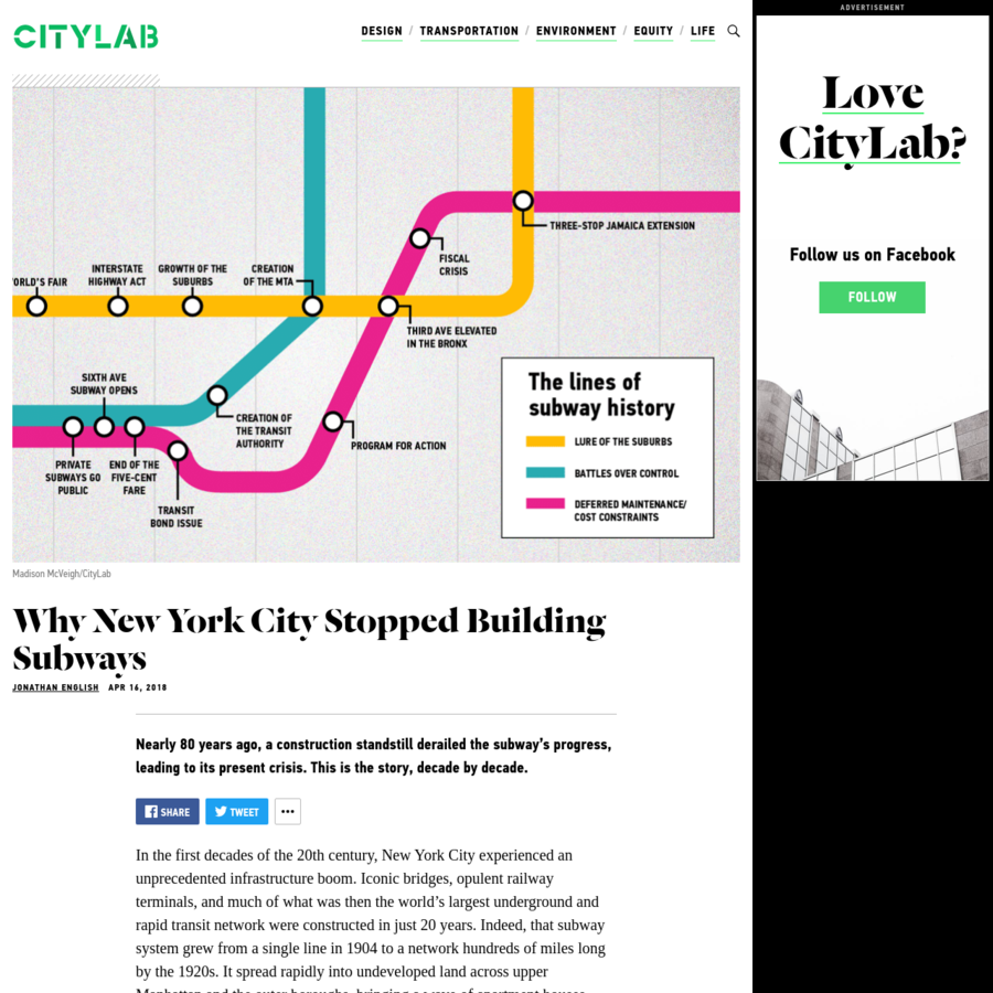 Nearly 80 years ago, a construction standstill derailed the subway's progress, leading to its present crisis. This is the story, decade by decade. In the first decades of the 20th century, New York City experienced an unprecedented infrastructure boom.