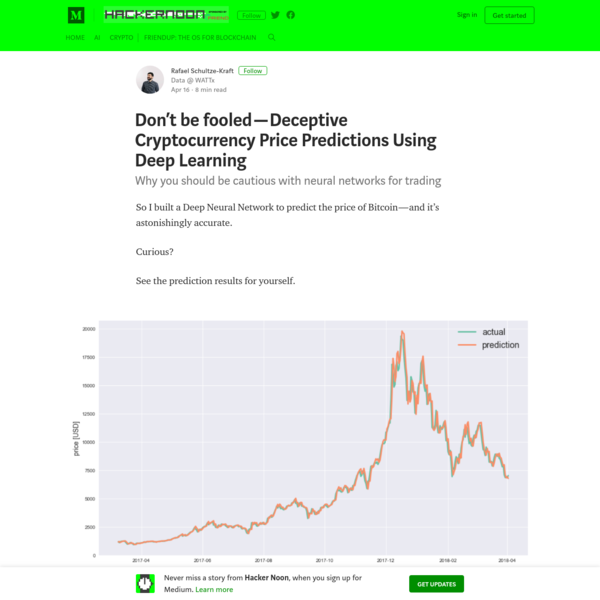 Don't be fooled - Deceptive Cryptocurrency Price Predictions Using Deep Learning