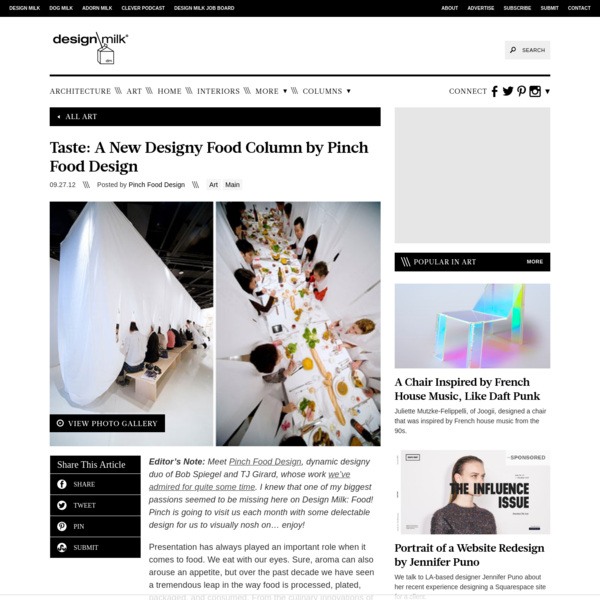 Taste: A New Designy Food Column by Pinch Food Design - Design Milk