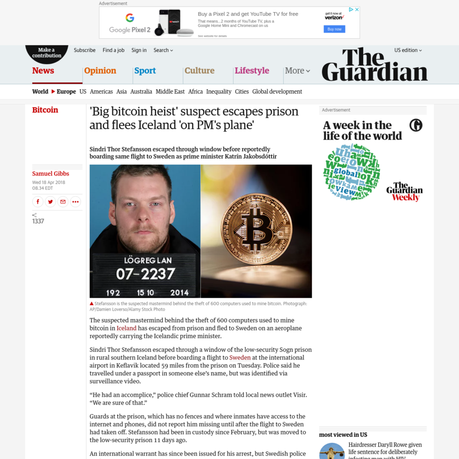 The suspected mastermind behind the theft of 600 computers used to mine bitcoin in Iceland has escaped from prison and fled to Sweden on an aeroplane reportedly carrying the Icelandic prime minister. Sindri Thor Stefansson escaped through a window of the low-security Sogn prison in rural southern Iceland before boarding a flight to Sweden at the international airport in Keflavik located 59 miles from the prison on Tuesday.