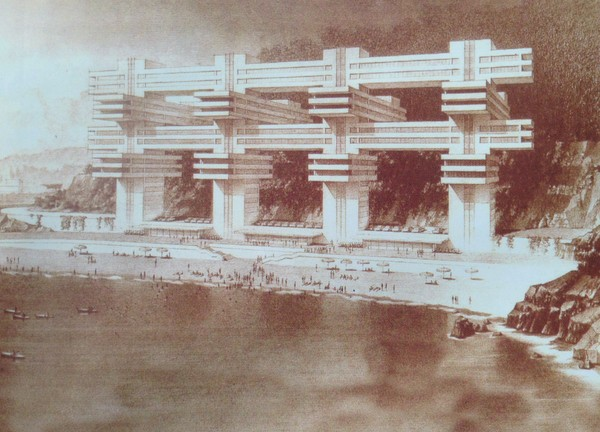 Giorgi Chakhava, unrealized seaside hotel designed for Yalta, 1967