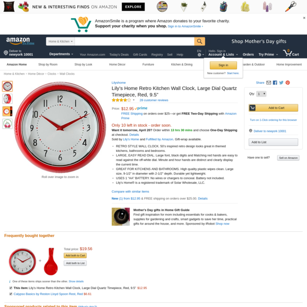 """AmazonSmile: Lily's Home Retro Kitchen Wall Clock, Large Dial Quartz Timepiece, Red, 9.5"""": Home & Kitchen"""