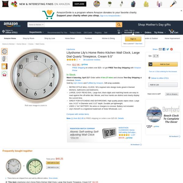 "AmazonSmile: Lilyshome Lily's Home Retro Kitchen Wall Clock, Large Dial Quartz Timepiece, Cream 9.5"": Home & Kitchen"