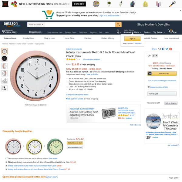 AmazonSmile: Infinity Instruments Retro 9.5 Inch Round Metal Wall Clock, Pink: Home & Kitchen